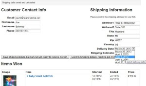 Figure 4.1: Select Shipment Date and Delivery Address